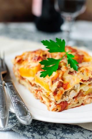 Lasagne med kylling og gresskar