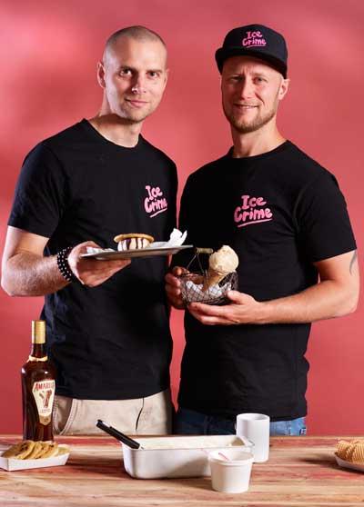 Ice Crime gründerene Eric Christian King og Patrick Jensen serverer kriminelt god iskrem.