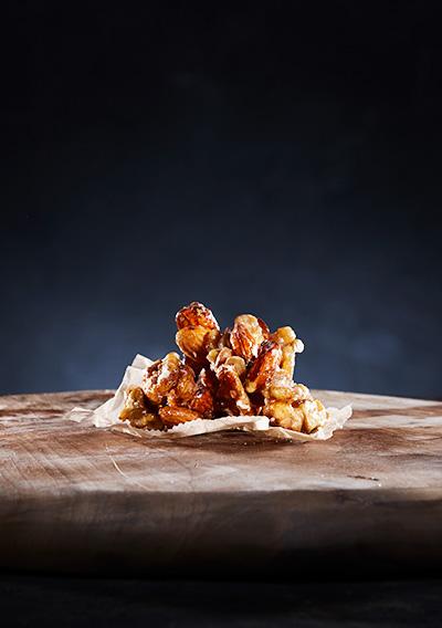 Honningglaserte nøtter valnøtter og mandler