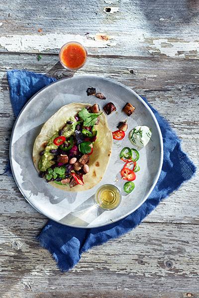 Vegetar taco med portobello