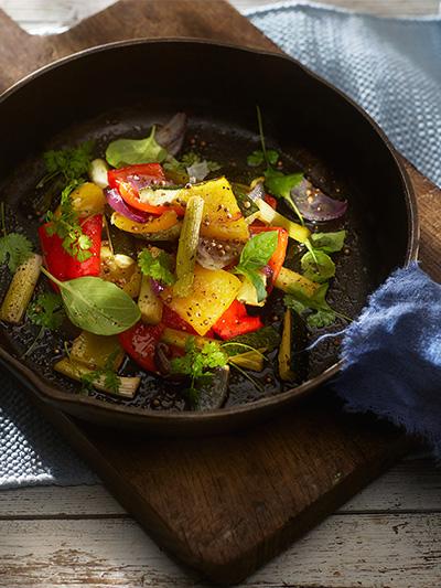 grillede Bakte greske grønnsaker