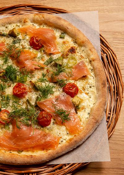 Norvegia pizza med røkelaks